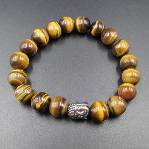 Vintage Brown Yellow Stone Buddha Bracelet
